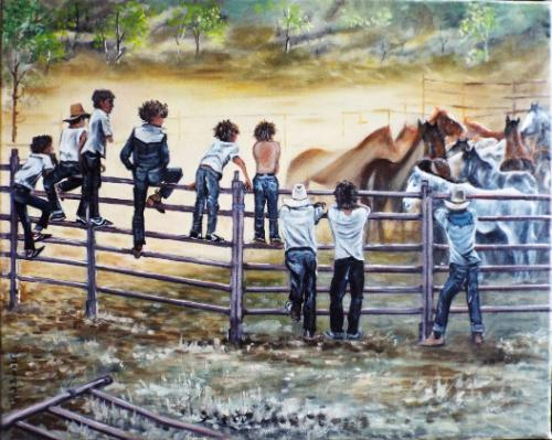 """Artwork Checking the """"Muster"""",,Outback."""