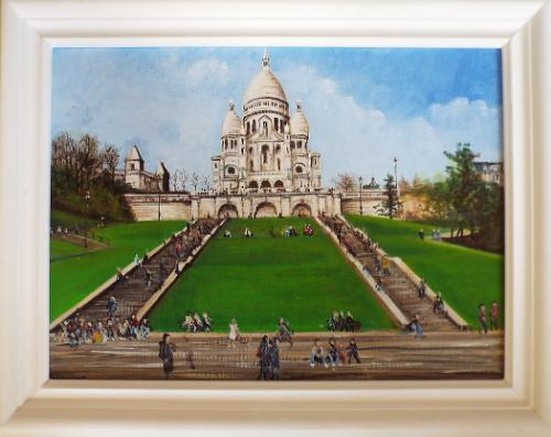 Artwork Basilica of Sacre`- Coer on Montmarte hill.