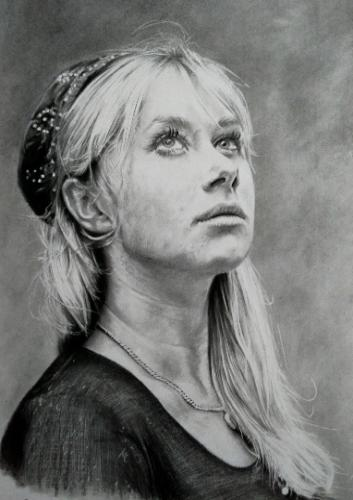 Artwork Charcoal & pencil drawing of Helen Mirren (A3)