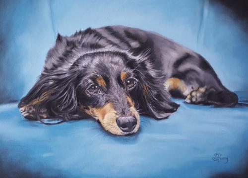 Artwork Little dog on a blue chair