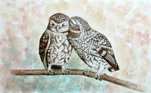 Artwork 'Two hoots', watercolour on paper
