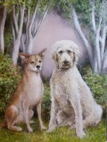 Artwork Two Dogs - Rusty and Labradoodle