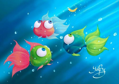 Fish Tales by Yana - Use the 'Create Similar' button to commission an artist to create your own artwork.