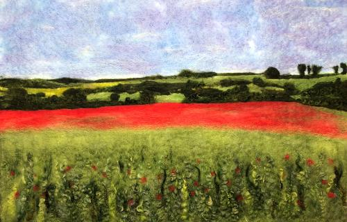 Poppy Field near Bishopstone by UshmaS - Use the 'Create Similar' button to commission an artist to create your own artwork.