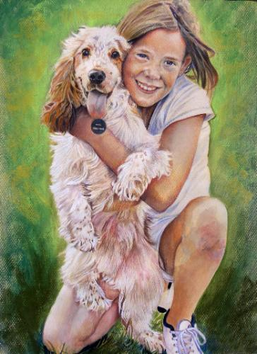 Artwork Girl with cocker spaniel pup