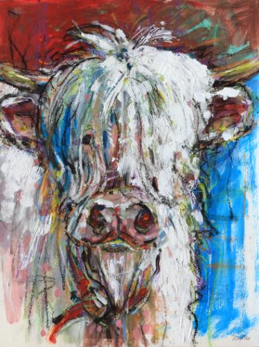 Artwork Little White Bull    Sold