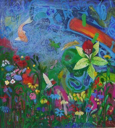 Artwork Flower garden pond