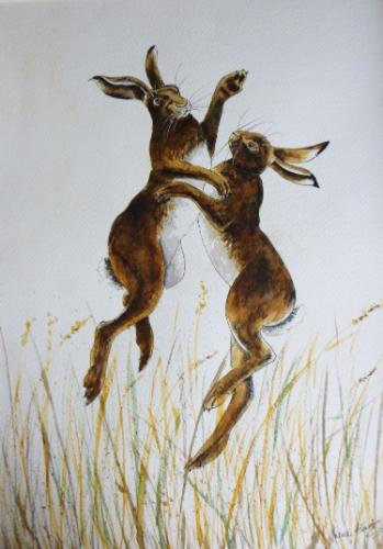 BOXING HARES by Irene