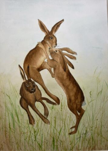 Artwork BOXING HARES (3)