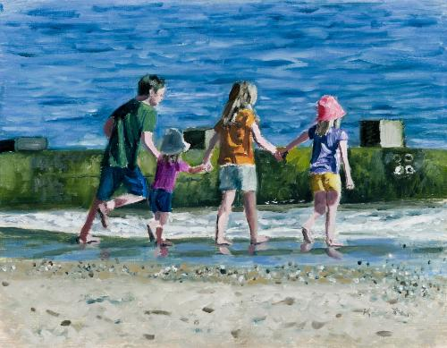 Artwork Children running into the sea