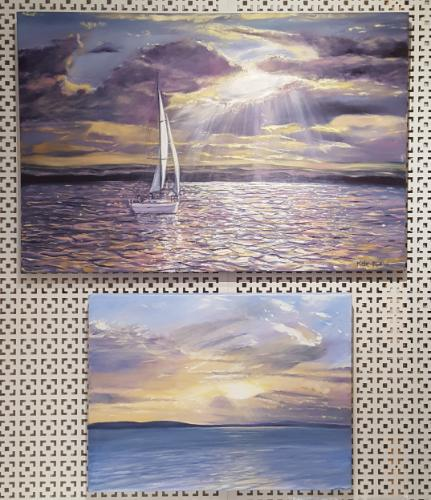 Light through the clouds at Poole Harbour by KateM - Use the 'Create Similar' button to commission an artist to create your own artwork.