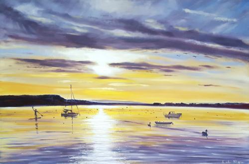 Artwork Sunset Over Mudeford Quay