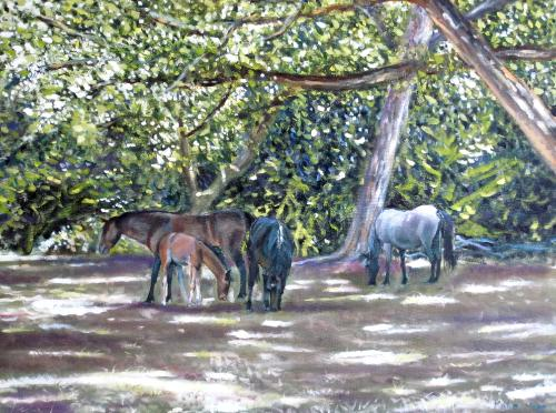 Artwork Ponies in the dappled light