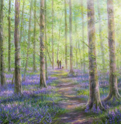 Sunlight & Shadows In Bluebell Forest by Stella - Use the 'Create Similar' button to commission an artist to create your own artwork.
