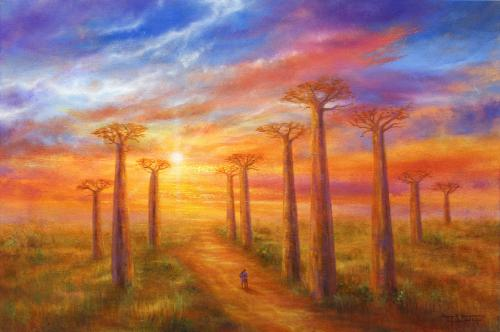 Honeymoon Sunset In Madagascar by Stella - Use the 'Create Similar' button to commission an artist to create your own artwork.
