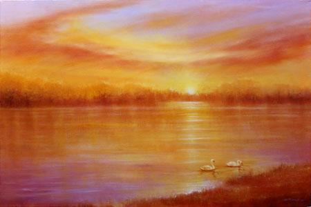 Artwork Swans At Sunset
