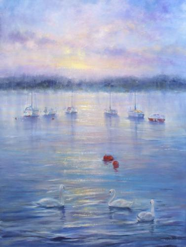 Sunset River Stour by Stella - Use the 'Create Similar' button to commission an artist to create your own artwork.