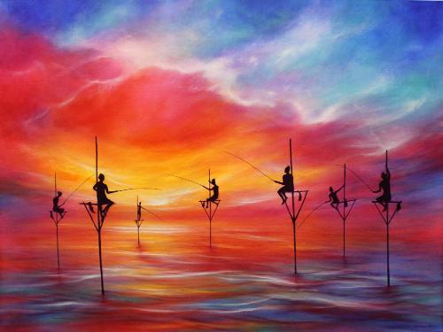 Artwork Fishing At Sunset, Sri Lanka