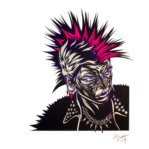 Mohican (Punk Rocker) by Lois - Use the 'Create Similar' button to commission an artist to create your own artwork.