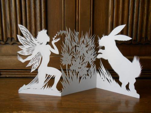 Artwork Little Woodland Fae and White Rabbit (papercut)