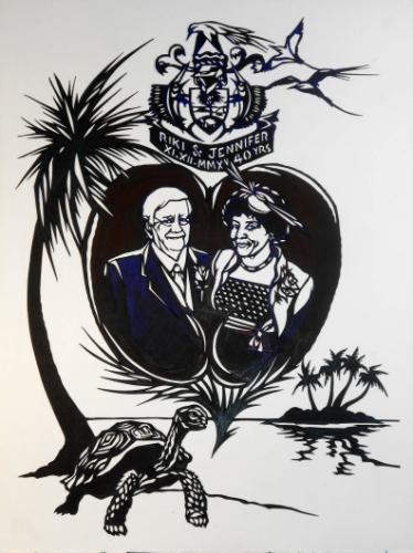 Artwork Seychelles themed 40th Wedding Anniversary