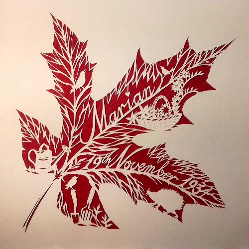 Artwork Personalised Autumn Birthday Papercut