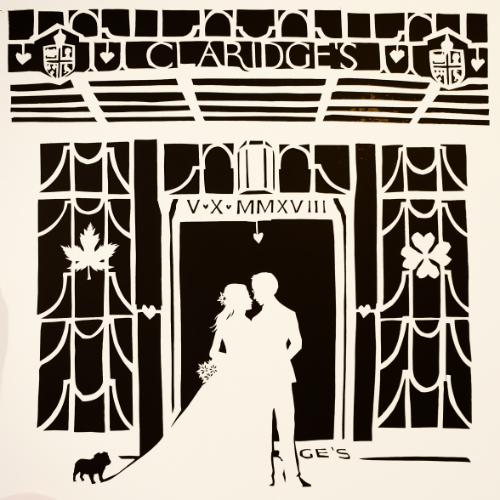 Artwork Claridges Silhouette Papercut Wedding Gift