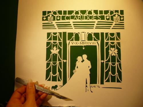 Claridges Silhouette Papercut Wedding Gift by Lois - Use the 'Create Similar' button to commission an artist to create your own artwork.