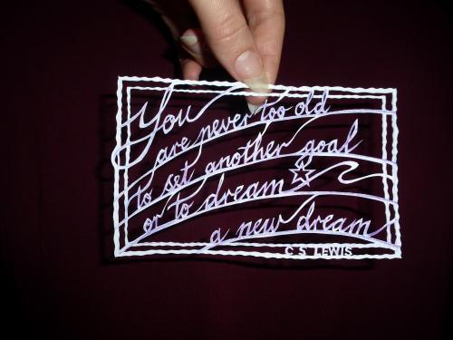 Artwork Personalised papercut quotation