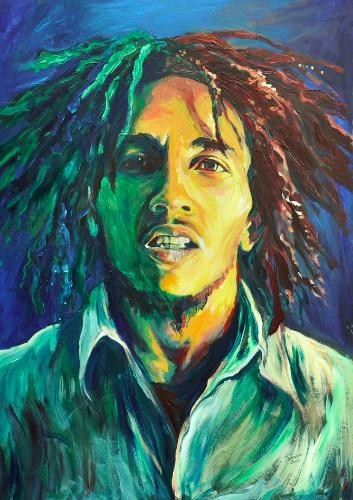 Artwork Bob Marley in Red, Gold and Green