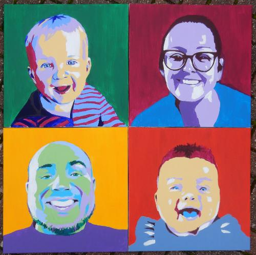 Artwork Family Set of 4 Pop-Art style Portraits
