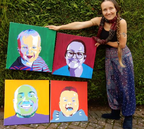 Family Set of 4 Pop-Art style Portraits by Lois - Use the 'Create Similar' button to commission an artist to create your own artwork.