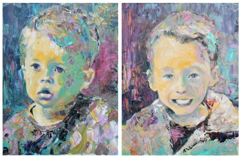 Portraits of two young brothers by Lois - Use the 'Create Similar' button to commission an artist to create your own artwork.