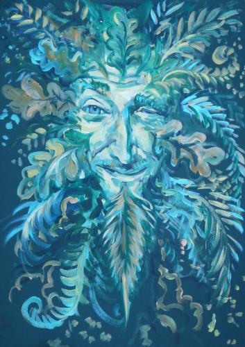 Artwork Winking Green Man