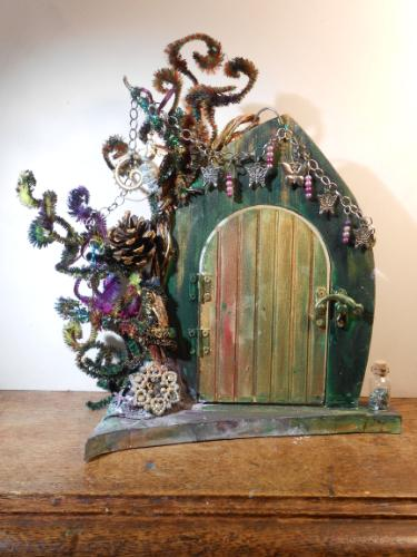 Artwork Fairy Door (mixed media sculpture) & Art gallery Sculptures (Mixed Media) by artist Lois - MyArtBrief