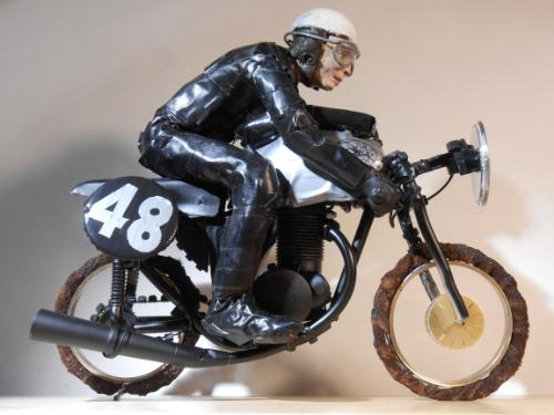 Artwork Miniature Sculpture of a 1960s Racing Motorcyclist