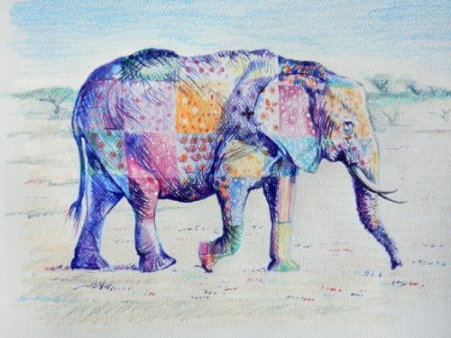 Artwork Patchwork Elephant