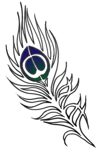 Artwork Peacock feather outline tattoo