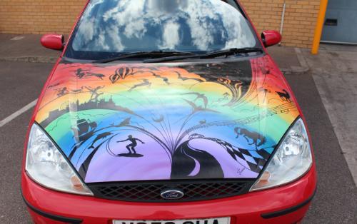 Artwork Hand painted Rally Car Bonnet design