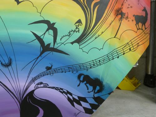 Hand painted Rally Car Bonnet design by Lois - Use the 'Create Similar' button to commission an artist to create your own artwork.