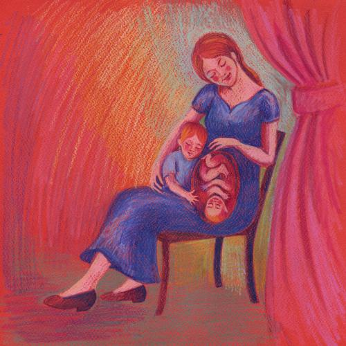 Artwork Illustration for 'Why Does Mummy's Tummy Hurt?'