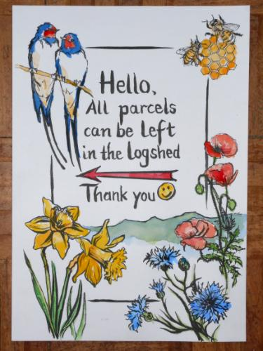 Artwork Decorative Door Sign for Courier Deliveries