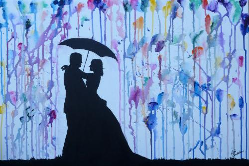 "Artwork Wedding Couple Silhouette with Umbrella and ""Rain"""