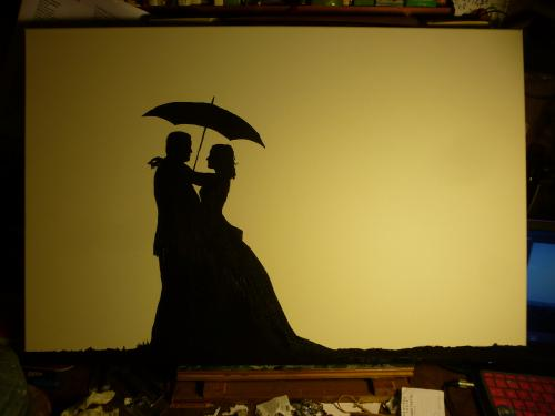 "Wedding Couple Silhouette with Umbrella and ""Rain"" by Lois - Use the 'Create Similar' button to commission an artist to create your own artwork."