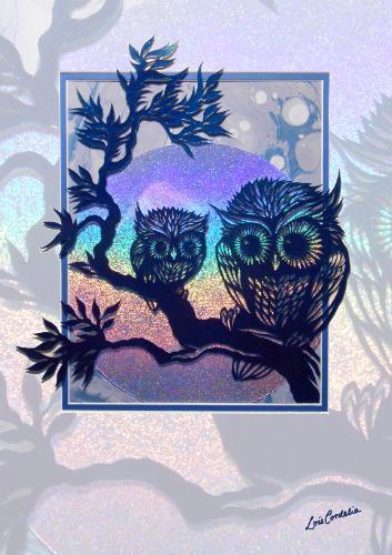 Artwork Owl Greetings Card (Paper-cut)