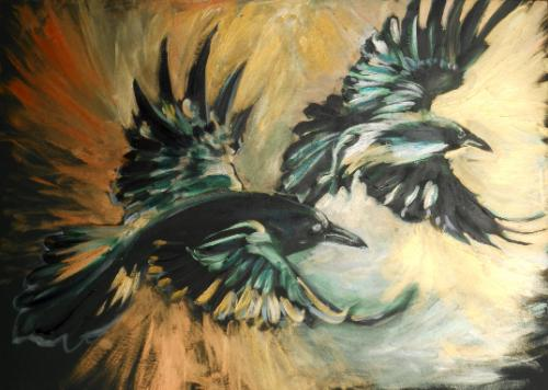 Artwork Fly Thought, Fly Memory (Two Ravens)