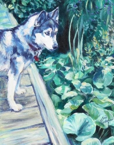 Artwork Husky Portrait in garden setting
