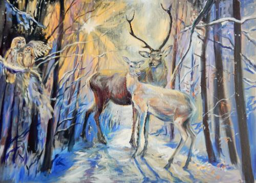 Artwork Stag, Doe, Owls and Squirrel in Snowy Woodland