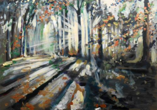 Sunlit Woodland by Lois - Use the 'Create Similar' button to commission an artist to create your own artwork.