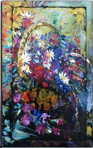 Artwork Basket of Flowers (on upcycled flatscreen TV)
